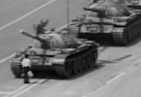 Tanks putting down the 1989 Tiananmen Suare Protest